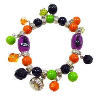 Painted Halloween Black Cat, Witch Hat Glass Beaded with Charms Stretch Bracelet (BR-2256F)