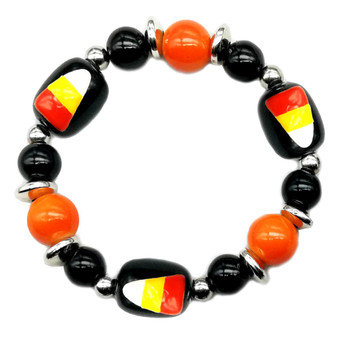 Painted Halloween Candy Corn Glass Beaded Stretch Bracelet (BR-3087A)