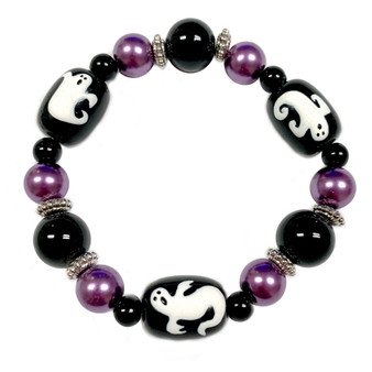 Painted Halloween Ghost Glass Beaded Stretch Bracelet (BR-3087C)