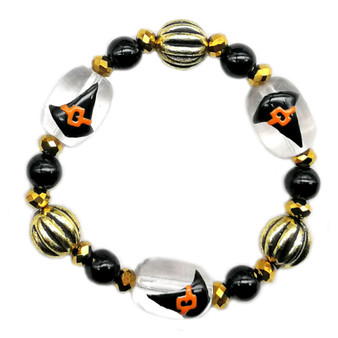 Painted Halloween Witch Hat Glass Beaded Stretch Bracelet (BR-3087D)
