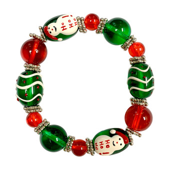 Painted Christmas Green Snowman with HoHoHo Glass Beaded Stretch Bracelet (060712-01)