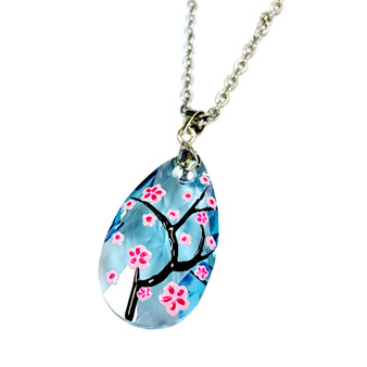 Fine Painted Cherry Blossom Swarovski Aqua Crystal Necklace (NE-3133) - Inspired by Van Gogh's Almond Blossom Painting.