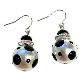 Black Polka Dots Glass and Crystals Beaded Drop Earrings(E-374A) - Prestige, Power, Mystery, Strength, Elegance