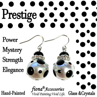 Black Polka Dots Glass and Crystals Beaded Drop Earrings(E-374A) -Carded -Prestige, Power, Mystery, Strength, Elegance