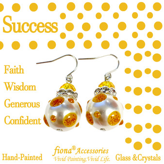 Gold Polka Dots Glass and Crystals Beaded Drop Earrings(E-374B) - Carded -Success, Faith, Wisdom, Generous, Confident