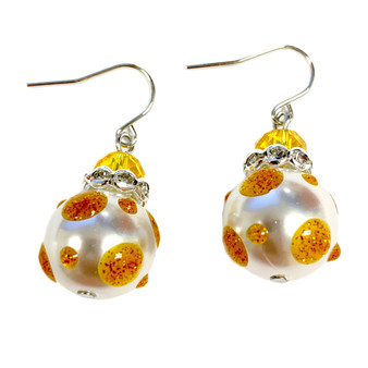 Gold Polka Dots Glass and Crystals Beaded Drop Earrings(E-374B) - Success, Faith, Wisdom, Generous, Confident