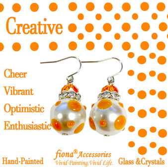 Orange Polka Dots Glass and Crystals Beaded Drop Earrings(E-374C) - Carded - Creative,Cheer,Vibrant,Optimistic,Enthusiastic