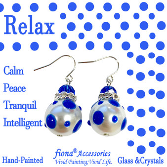 Blue Polka Dots Glass and Crystals Beaded Drop Earrings(E-374D) - Carded -Relax,Calm,Peace,Tranquil,Intelligent