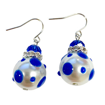 Blue Polka Dots Glass and Crystals Beaded Drop Earrings(E-374D) - Relax,Calm,Peace,Tranquil,Intelligent