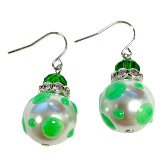 Neon Green Polka Dots Glass and Crystals Beaded Drop Earrings(E-374E) -Explore, Living, Energy, Exciting, Adventure