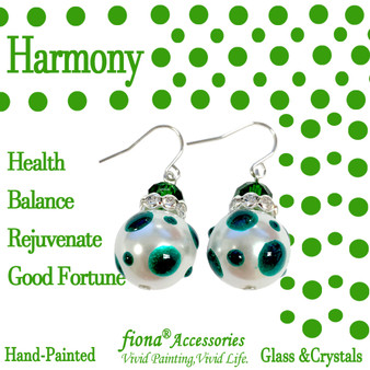 Green Polka Dots Glass and Crystals Beaded Drop Earrings(E-374F) - Carded - Harmony, Health, Balance, Rejuvenate, Good Fortune