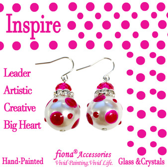 Magenta Polka Dots Glass and Crystals Beaded Drop Earrings(E-374G) - Carded - Inspire, Leader, Artistic, Creative, Big Heart