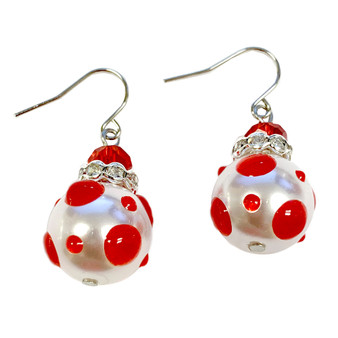 Red Polka Dots Glass and Crystals Beaded Drop Earrings(E-374I) -Energy, Love, Passion, Courage, Motivation