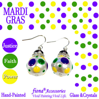 Mardi Gras Polka Dots Glass and Crystals Beaded Drop Earrings(E-375A) - Carded - Justice, Faith, Power