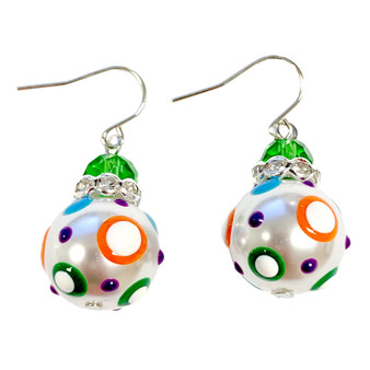 Dream Polka Dots Glass and Crystals Beaded Drop Earrings(E-375B) -Joy, Pure, Calm, Peace