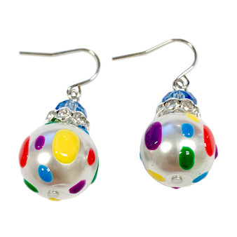 Happy Polka Dots Glass and Crystals Beaded Drop Earrings(E-375C) - Free, Balance, Sunshine, Energy