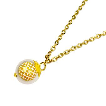 Fine Painted Pineapple Swarovski Crystal Round Pearl Necklace (NE-3134C)