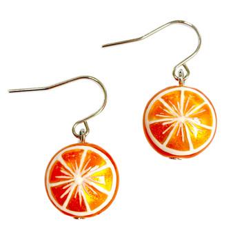Fine Painted Orange Swarovski Crystal Coin Pearl Earrings (E-373A)