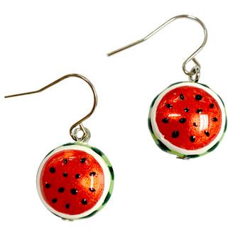 Fine Painted Watermelon Swarovski Crystal Coin Pearl Earrings (E-373D)