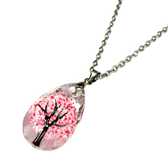 Fine Painted Spring Flowering Tree Swarovski Crystal Necklace (NE-3154A))