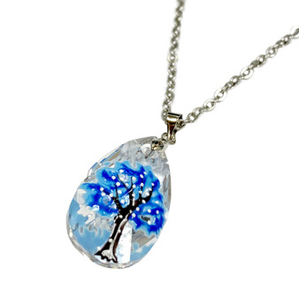 Swarovski Crystal Snow and Ice Blue Winter Tree Necklace with Gift Box - Christmas Jewelry Gift for Women - Fiona - NE3154D