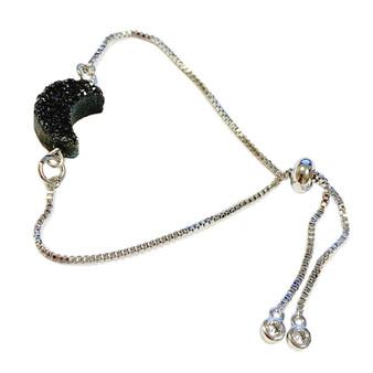 Black Crescent Moon Druzy Bracelet -  Natural Gemstone Bolo Bracelet -  Sliver Plated Slider Bracelets - Birthday Mom Gifts - Fiona -  3603A