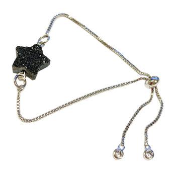 Black Star Natural Raw Quartz Druzy Crystal Bracelet - Gemstone Bracelet - Silver Plated Slide Chain Bracelet for Women - Fiona - BR3064A