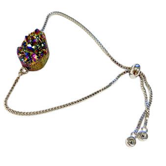 Rainbow Druzy Stone Bracelet - Natural Gemstone Bolo Bracelet -  Sliver Plated Slider Bracelets - Birthday Mom Gifts - Fiona -  BR3065A