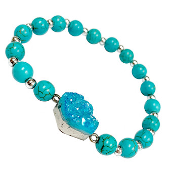 Turquoise Blue Druzy Stone Bracelet - Natural  Stone Beads Bracelet for Women - Best Birthday Gift for Her - Fiona -  BR3088A