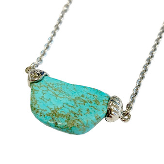 "Free Shape Turquoise Stone Necklace (NE-3187) - 18"" Stainless Steel Chain"