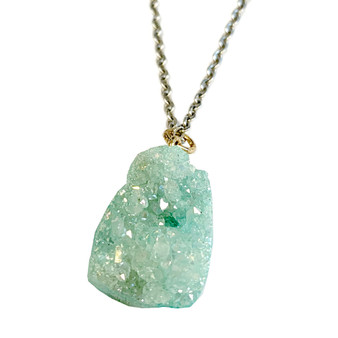 "Free Shape Druzy Pendant Necklace (NE-3188A) - Mint Green - 18"" Stainless Steel Chain"
