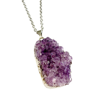 "Free Shape Amethyst Cluster Pendant Necklace (NE-3189) - 30"" Necklace Chain"
