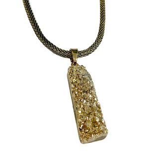 "Rectangle Druzy Pendant Necklace (NE-319B) - 18"" Mesh Chain + 2"" Extension Cord"