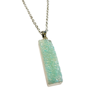 "Rectangle Druzy Pendant Necklace (NE-3194A) - Light Blue - 30"" Necklace Chain"