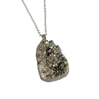 "Free Shape Large to Medium Druzy Pendant Necklace (NE-3195C) - Silver - 30"" Necklace Chain"
