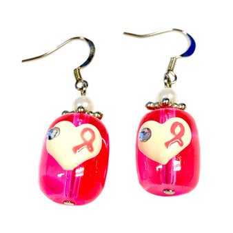 Painted Pink Ribbon on Heart Breast Cancer Awareness Glass Bead Earrings  E-29