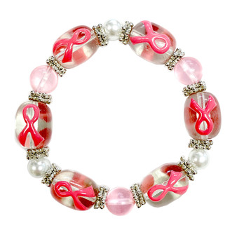 Painted Pink Ribbon Breast Cancer Awareness Glass Bead Stretch Bracelet  IUP20-1