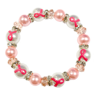 Fiona Accessories Painted Pink Ribbon Breast Cancer Awareness Dainty Pearl Glass Bead Stretch Bracelet IUP20-4