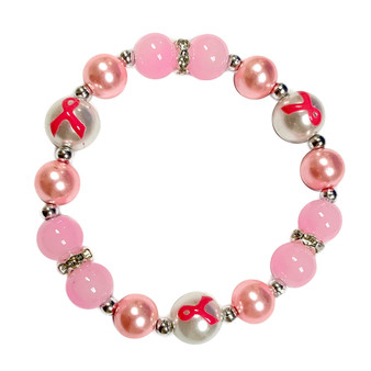 Fiona Accessories Painted Pink Ribbon Breast Cancer Awareness Dainty Pearl  Pink Glass Bead Stretch Bracelet IUP20-5