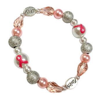 Painted Pink Ribbon Breast Cancer Awareness Dainty Pearl Glass Bead and Faith Stretch Bracelet IUP20-6