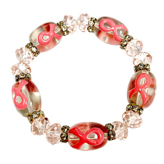 Fiona Accessories Painted Pink Ribbon Breast Cancer Awareness Glass Bead and Crystals Stretch Bracelet BR-2105