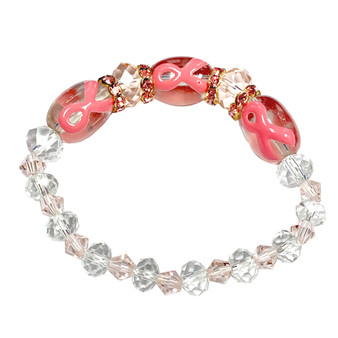 Fiona Accessories Painted Pink Ribbon Breast Cancer Awareness Glass Bead Pink Crystals  and Pink Rhinestones Stretch Bracelet IUP20-1ST