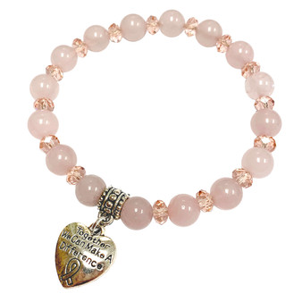 Rose Quartz Stone Bracelet - Pink Ribbon Heart Charm Bracelet - Stone Beads Bracelet for Women - Fiona - BR3099H