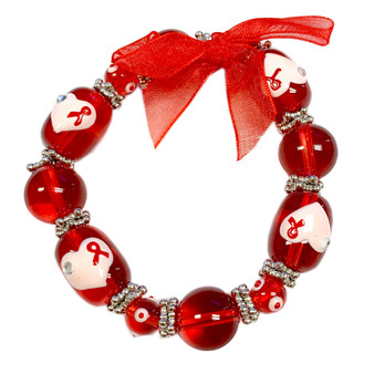 Fiona Accessories Painted Red Ribbon and Heart for Heart Disease and AIDS Awareness Glass Bead Stretch Bracelet BR-1208