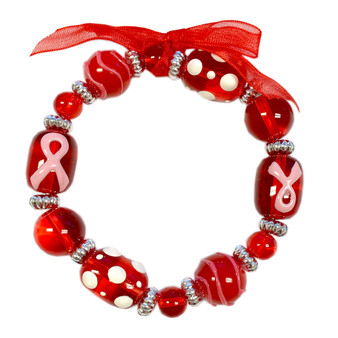 Fiona Accessories Painted Pink Ribbon Dots Breast Cancer Awareness Red Glass Bead Stretch Bracelet BR-2057R