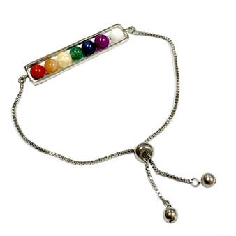 7 Chakra Healing Stones Bracelet - Natural Gemstone Bolo Bracelet -  Sliver Plated Slider Bracelets - Birthday Mom Gifts - Fiona -  BR3067