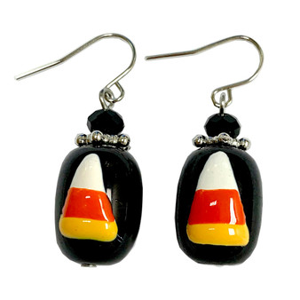 Painted Halloween Candy Corn Glass Bead Drop Dangle Earrings E-387A