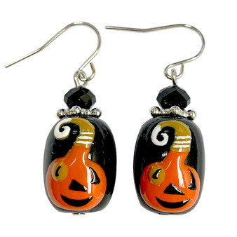 Painted Halloween Smile Pumpkin Glass Bead Drop Dangle Earrings E-387B
