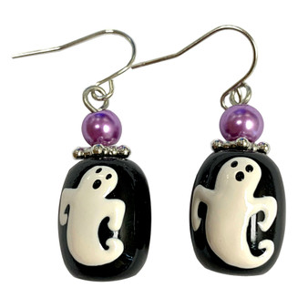 Painted Halloween Ghost Glass Bead Drop Dangle Earrings E-387C
