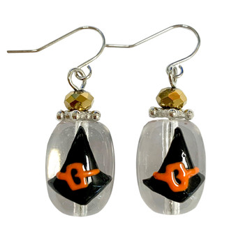 Painted Halloween Black Witch Hat Glass Bead Drop Dangle Earrings E-387D
